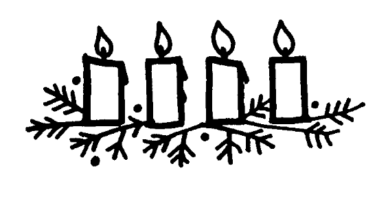 Line drawing of Advent candles on wreath